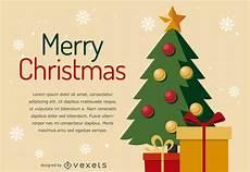 flat christmas tree card design vector download