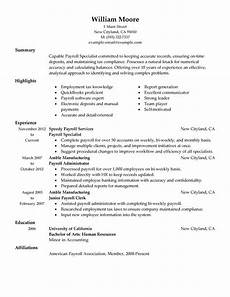 payroll specialist resume exles created by pros
