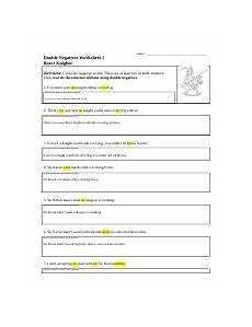 double negatives worksheet 01 name double negatives worksheet 1 brave knights directions