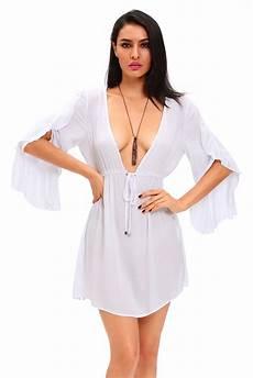 chemise de nuit blanche semi transparente avec grand