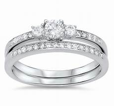wedding set rings sterling silver rhodium plated best