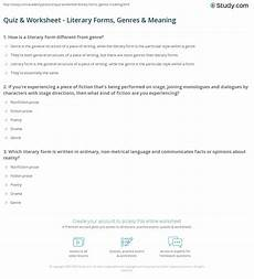 quiz worksheet literary forms genres meaning