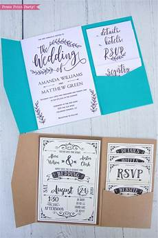 pocket wedding invitation template diy svg or print press print party