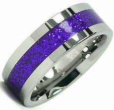 tungsten carbide ring shiny purple inlay wedding band 8mm titanium color ebay
