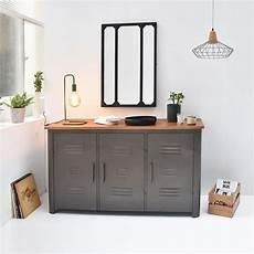buffet 3 portes m 233 tal gris et plateau bois style