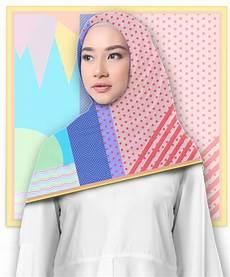 Jilbab Segi Empat Motif Dotlines Printout Shop