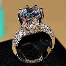 2017 wieck 8ct big stone solitaire 925 sterling silver filled topaz simulated diamond