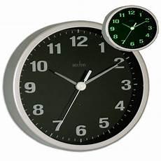 acctim smartlite light up display wall clock silver black illumintaed dial hands ebay