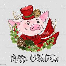 cute festive pig with the inscription merry christmas vector illustration stock illustration