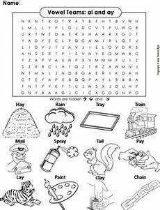ai ay vowel team phonics worksheet digraphs word search