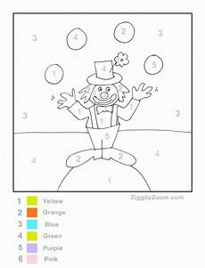 color by number clown worksheet circus activities preschool coloring pages circus crafts