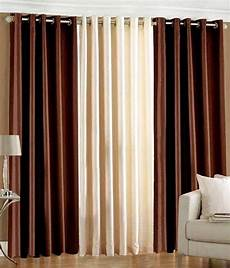 Brown Curtains by Rajasthan Set Of 3 Eyelet Plain Brown And