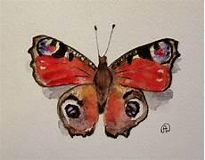 Ausmalbild Schmetterling Pfauenauge Original Aquarell Pfauenauge Schmetterling Butterfly