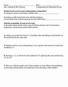 independent and dependent events worksheet homeschooldressage com