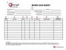 music cue sheet legend