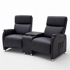 kino 2er sessel cinema sofa lederlook schwarz mit