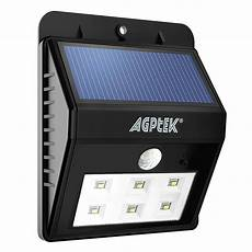agptek solar lights bright 6 led solar powered led security lights with motion sensor wireless