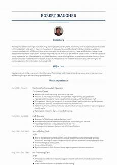 machinist resume sles and templates visualcv