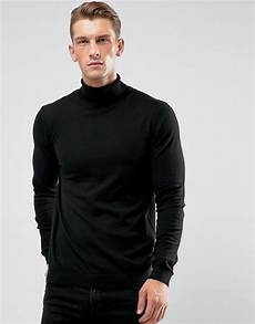 Pull Col Roulé Homme Zara Asos Asos Cotton Roll Neck Sweater In Black