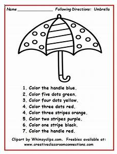 following directions comprehension worksheets 11654 umbrella worksheet with simple directions provides students practice reading number and