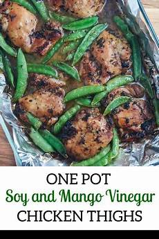 soy and mango vinegar marinated chicken thighs with sugar