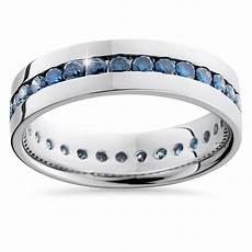 mens blue diamond wedding rings 1 25ct blue diamond channel eternity mens wedding ring band 14k white gold ebay