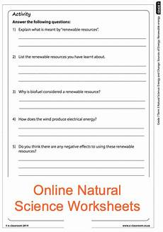 grade 7 online natural science energy sources worksheet