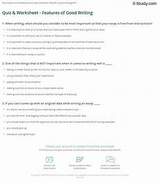 quiz worksheet features of good writing study com