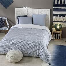 parure de lit en coton motifs bleus 240x260 indigo