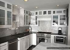 Backsplash Ideas For White Kitchen Cabinets White Marble Glass Kitchen Backsplash Tile