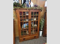 Mission Bookcase w/ Glass Doors, Shown in Rustic Cherry