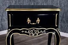 barock nachttisch loi square in schwarz mit starkem gold