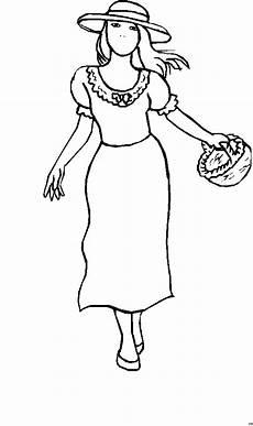 Gratis Malvorlagen Kinder Gratis Maedchen Mit Korb In Kleid Ausmalbild Malvorlage Kinder