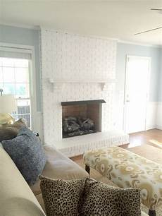painting our brick fireplace white a clark