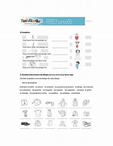 spanish worksheet about clothes places and weather more