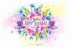 free vector floral happy birthday watercolor background