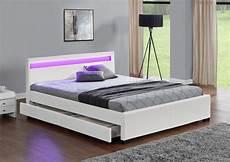 lit 140 tiroir rangement lit led design 140x190 simili cuir blanc avec tiroirs de