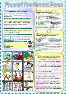 grammar worksheets present continuous tense 24932 present continuous tense two pages grammar and exercises b w version included esl