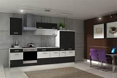 küchen schwarz weiss k 252 che fabienne 310 cm k 252 chenzeile in schwarz wei 223