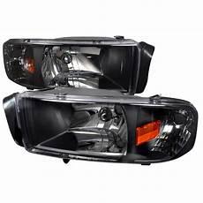 94 01 dodge ram 1500 2500 3500 black 1pc headlights