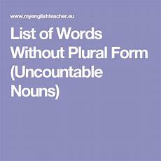 list of words without plural form uncountable nouns