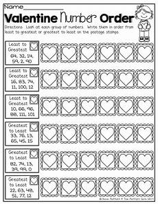 decimals greatest to least worksheets 7202 february no prep packet 1st grade valentines number sense and sts