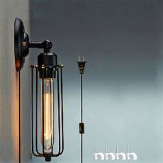kiven wall l 1 light plug in ul listed bulb not included wall sconce black metal industrial