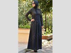 Dark Color Hijab Styles maxi black long sleeves islamic