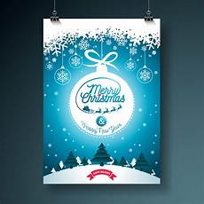 merry christmas illustration with typography and ornament decoration winter landscape