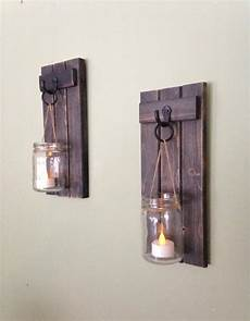 wooden candle holder rustic wall sconce jar candle