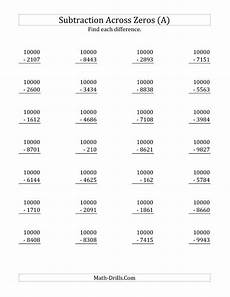 fourth grade math subtraction worksheet subtracting across zeros from 10000 a subtraction
