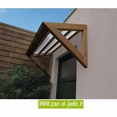 auvent de porte 3d marquise bois et polycarbonate cour