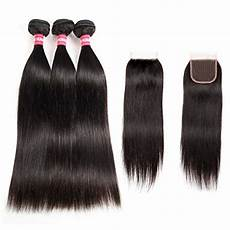 Amazon Com 3 Part Lace Closure Straight With Long Yao Brazilian Straight Virgin Hair 3 Bundles With