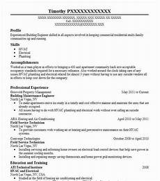 building maintenance engineer resume sle livecareer